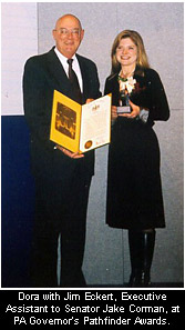Dora McQuaid receiving the Pathfinder Award